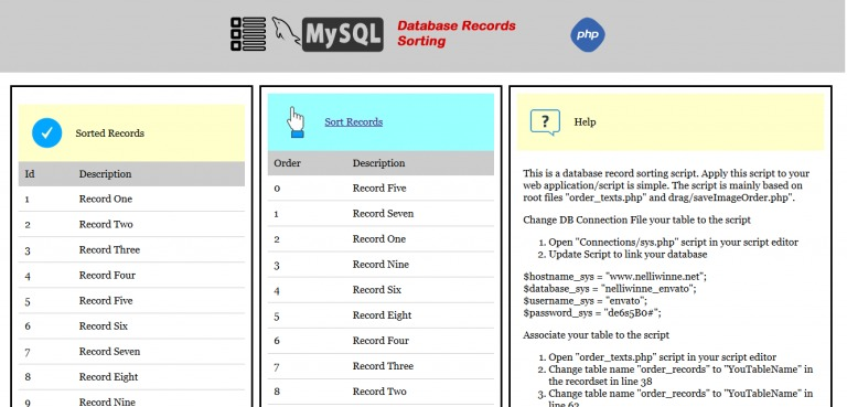 Mysql Drag And Drop Record Sorting