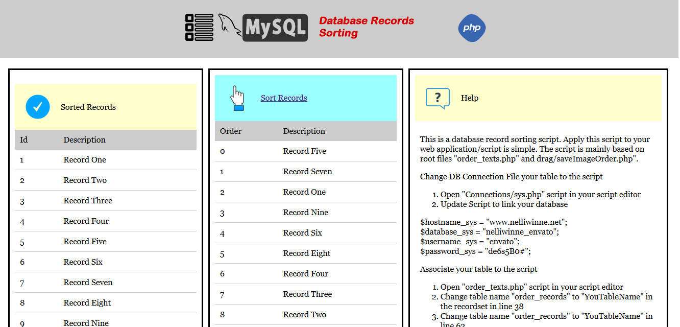 Mysql Drag And Drop Record Sorting