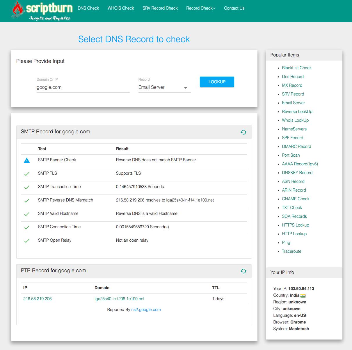 Scriptburn com Network diagnostic tool mxtoolbox Clone - Scriptburn com